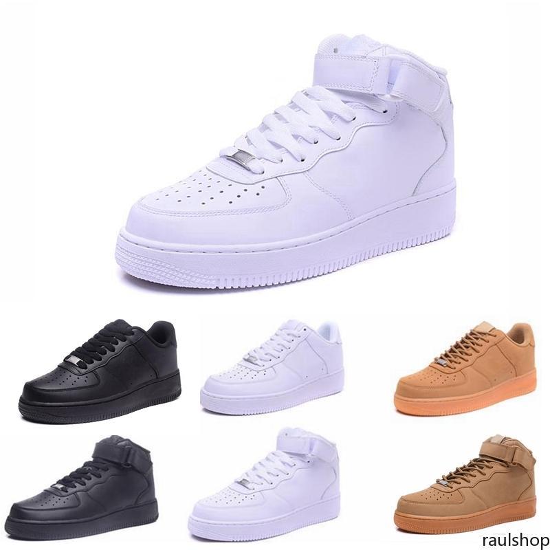 2019 alta calidad nuevas fuerzas clásicas clásicas todo alto y bajo blanco negro de trigo negro hombres deportes zapatos de correr forzando zapatillas de deporte de skate rau