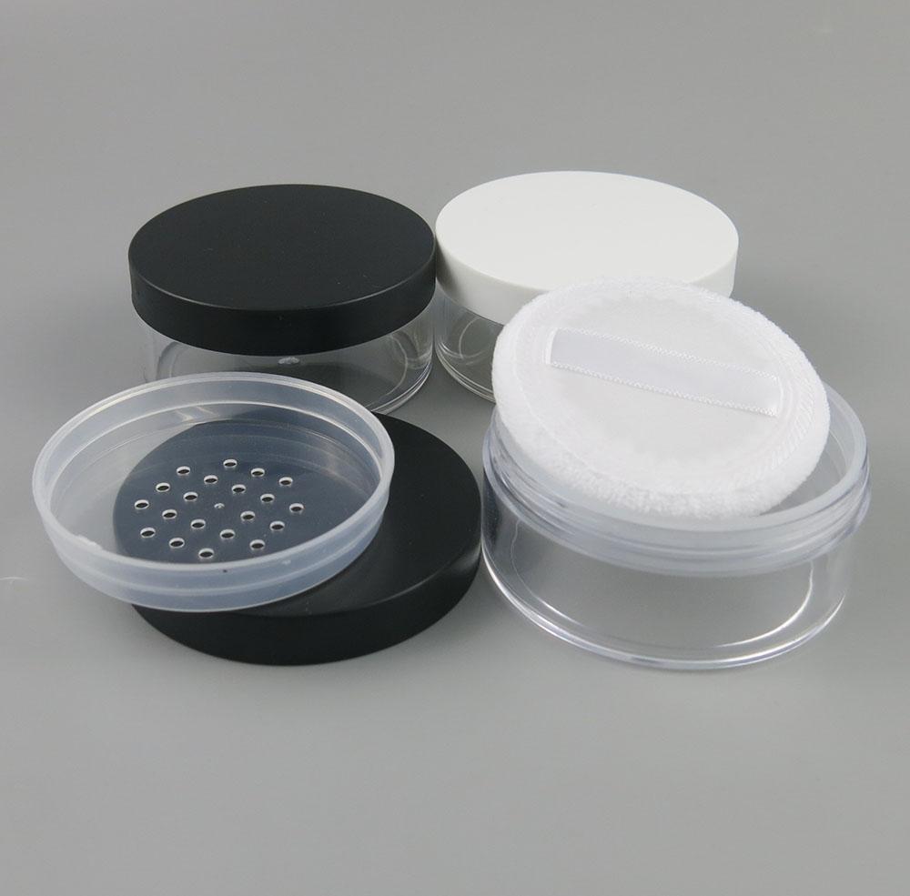 50g portatile in plastica vuota Loose Powder Box trucco vaso contenitore di viaggio Puff caso cosmetico setaccio