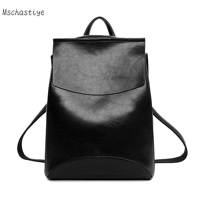 Mschastiye Simple Style Backpack Women PU leather Shoulder Bag Teenage Girls Fashion Vintage School mochila solid female bags