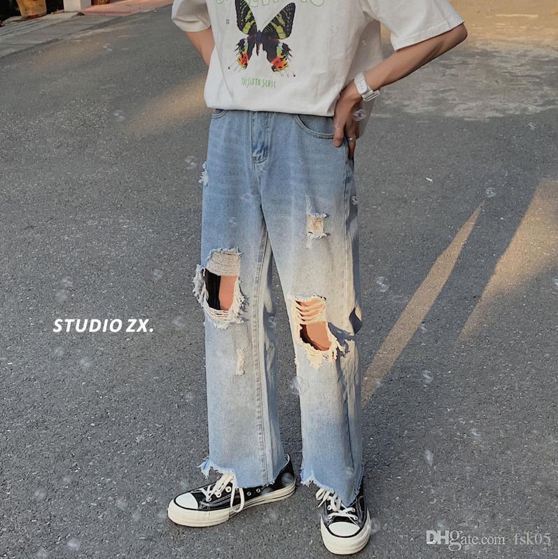 2020 Spring and Summer New York populaire gros trou massif couleur jeans mode décontracté pantalon recossé bleu s-2xl