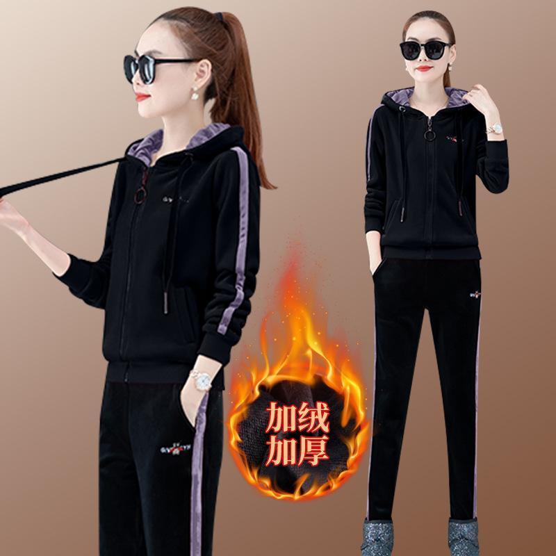 الشتاء سماكة المخملية المرأة رياضية ملابس رياضية الدافئة سترات تشغيل الركض للياقة البدنية وتتسابق عارضة البدلة مجموعة الرياضة هوديي + بانت
