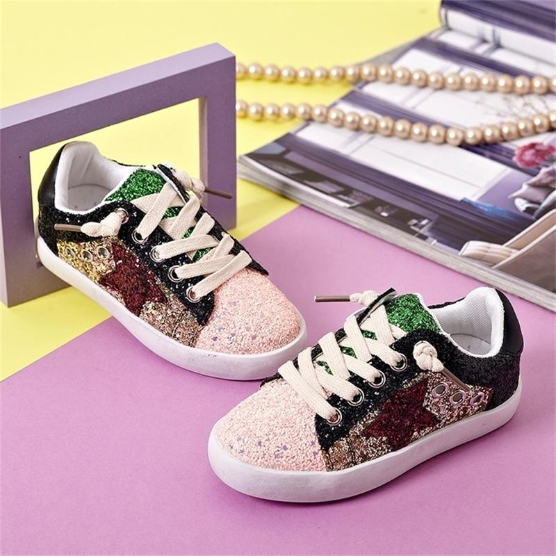 new girls' children's shoes casual boys' sneakers color sequins Greet small dirty shoes star shoes 201223