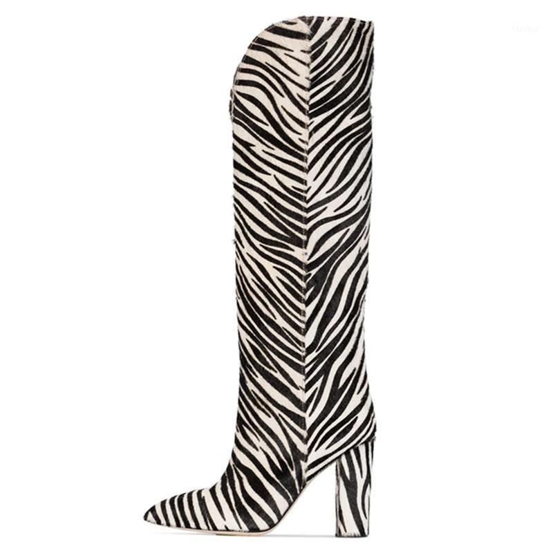 Nuova stampa del ginocchio ad alto cavaliere stivali per le donne Cavallo Cappuccio con tacchi alti con tacchi alti Zebra stivali zebra stivali eterosessuali Mujer Botines1