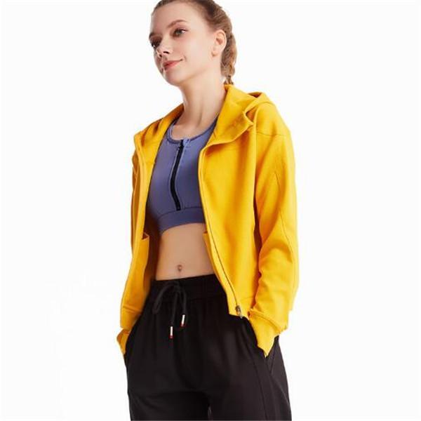 Giacca sportiva con cappuccio da donna creativa versione coreana della personalità di colore solido Giacca corta da donna Sweet Beauty SportSwearterwear Top