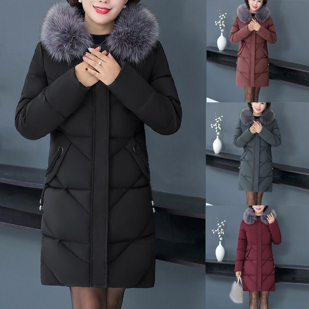 Fashion Women Down Coats Plus Size Middle-aged Fur Collar Hooded Long Sleeve Thick Winter Warm Parka Female Jacket Coat Outwear