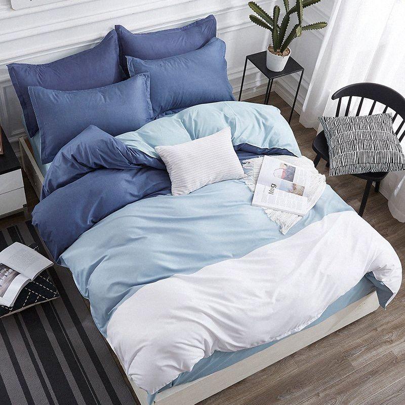 Gradiente azul simple Sistemas del lecho 3 / Modelo geométrico cama forros funda nórdica hoja de cama de almohada cover set CpRC #
