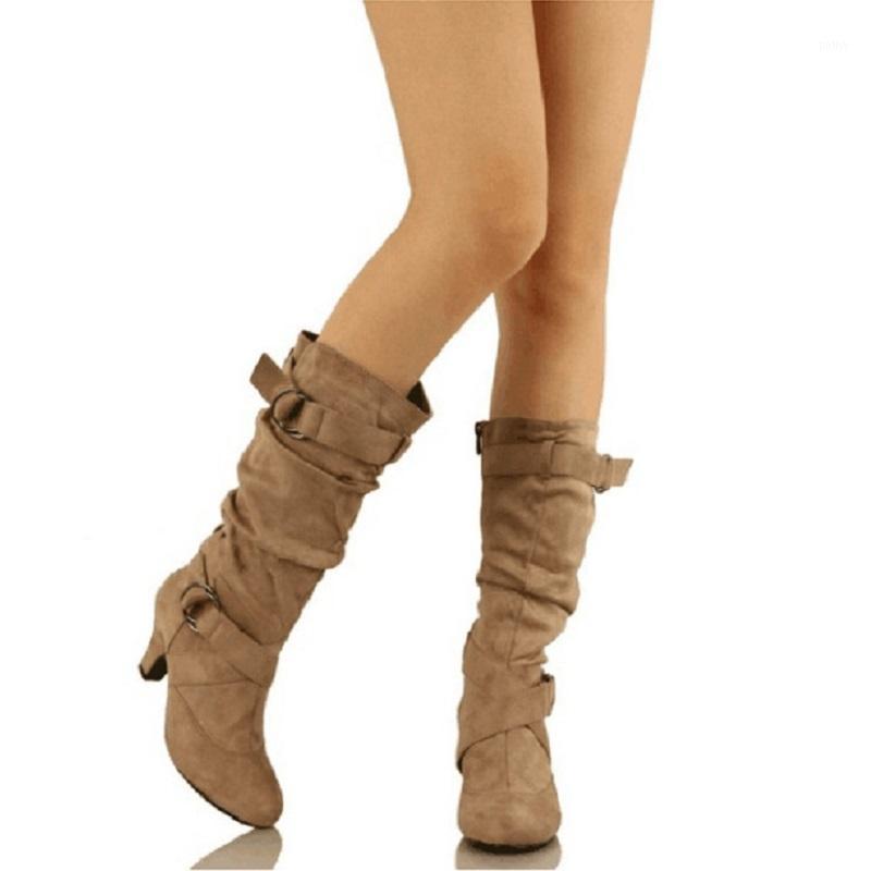 Женщины Mid Calf Boots Осень зима Круглый Носок Винтаж Дама Обувь Пряжка Ремень Средний каблуки Женские Ботинки Chaussure Femme1