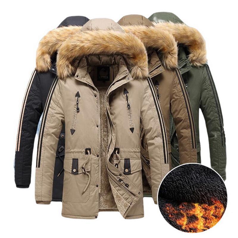 Parka Men Mid-length pele gola do casaco mais grossa de veludo masculino Sobretudo Inverno Lazer capuz Quente Brasão de algodão