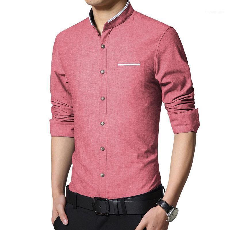 2021 Nouvelle mode Casual Hommes Chemise à manches longues Collier Slim Fit Chemise Hommes Business Business Mens Hommes Chemises Vêtements 5XL1
