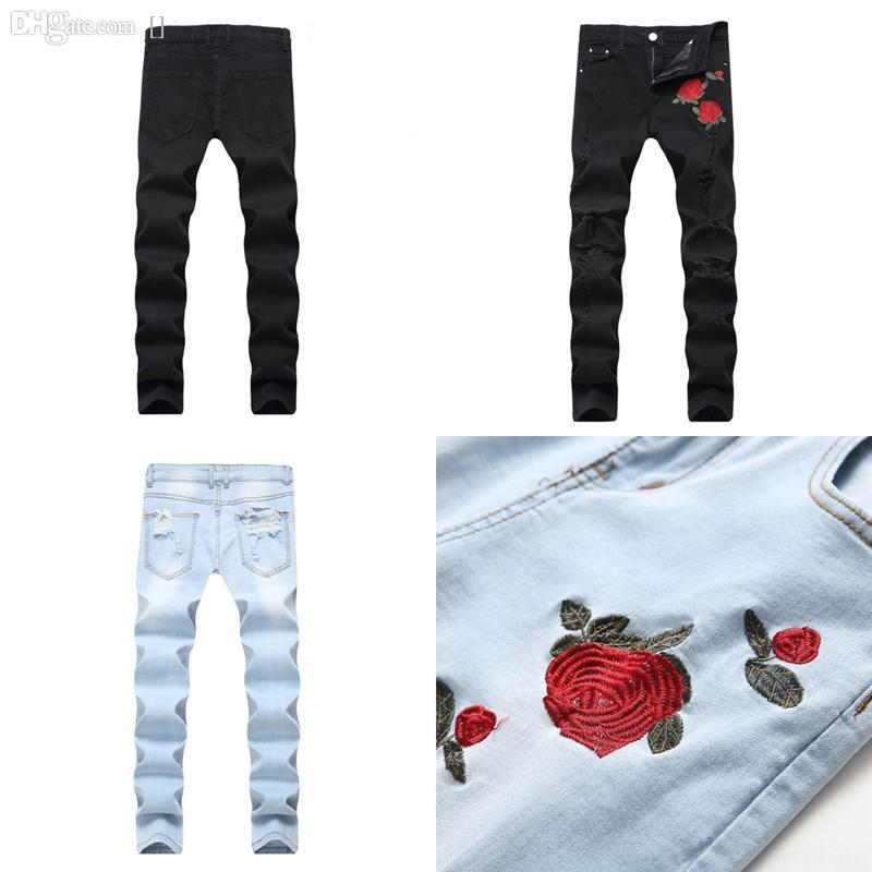 KSLUU Distressed Bleistift Jeans für Männer Streetwear Slim Risced Skinny Fit Jeans für Kinder Denim Hosen Kleid Löcher Mann Celana Jeans Knöchel
