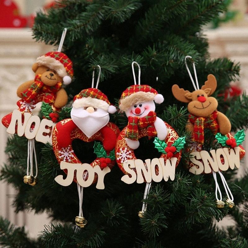 Regalo Feliz Navidad Adornos de Navidad de Santa Claus muñeco de nieve del árbol de muñeca de juguete colgar decoraciones para el hogar con madera letras MUVZ #
