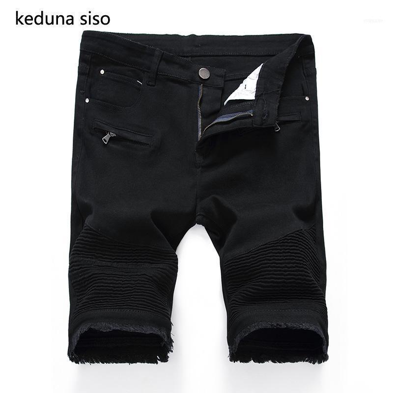 Мужские джинсы 2021 черные белые мужчины повседневные мужские шорты брюки мужские стройные фитнес фитнес плюс размер колена лето домоблок