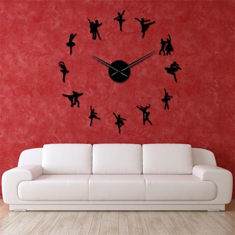Ballerine mur arte bricolage grande horloge murale grosse aiguilles de ballet géant sans cadre danseur horloge murale surdimensionnée danse girllor montre y200109