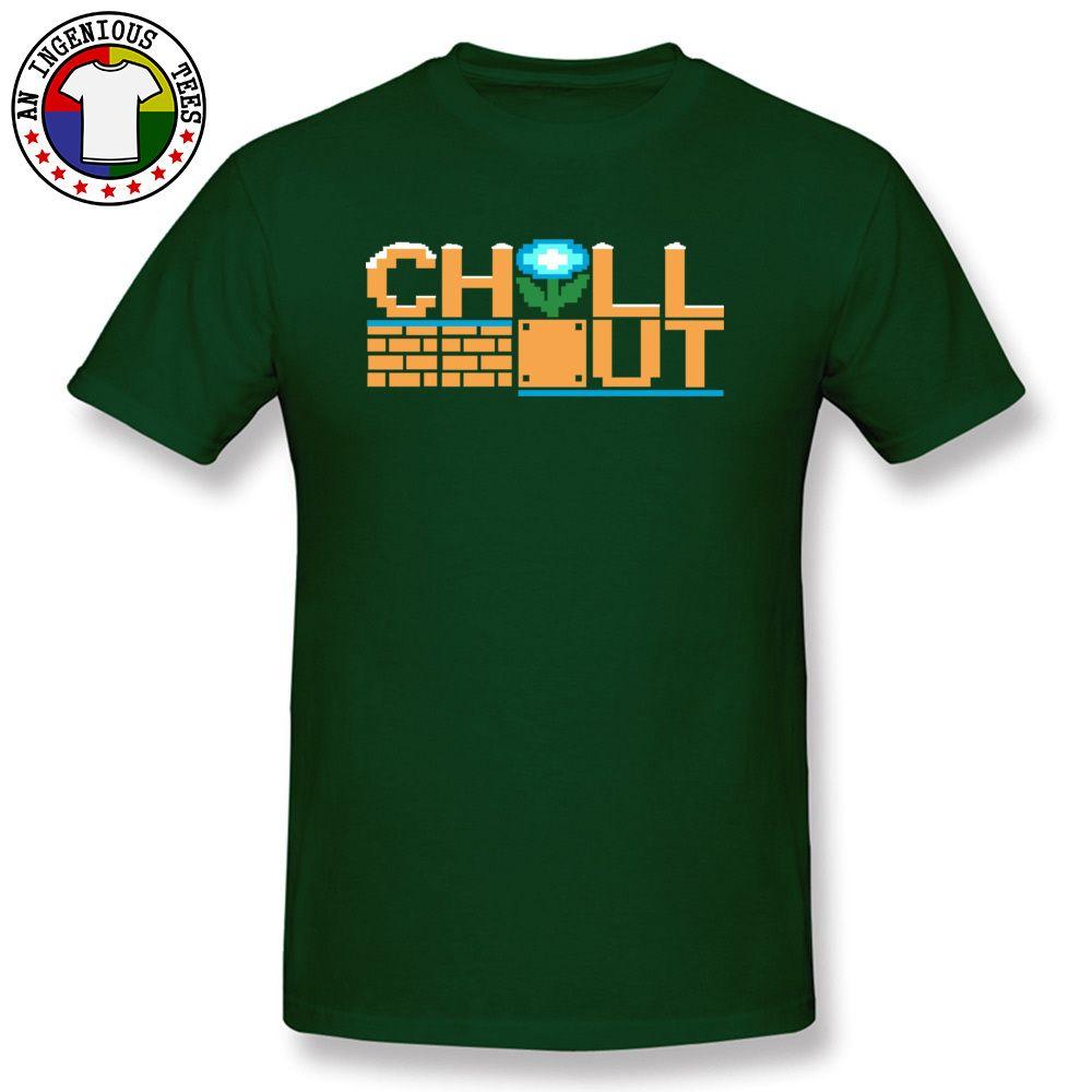 Sport Chill Out in puro cotone T-shirt con maniche stampa su misura per adulti T camicia rotonda del collare uomo normale T-shirt verde scuro Abbigliamento