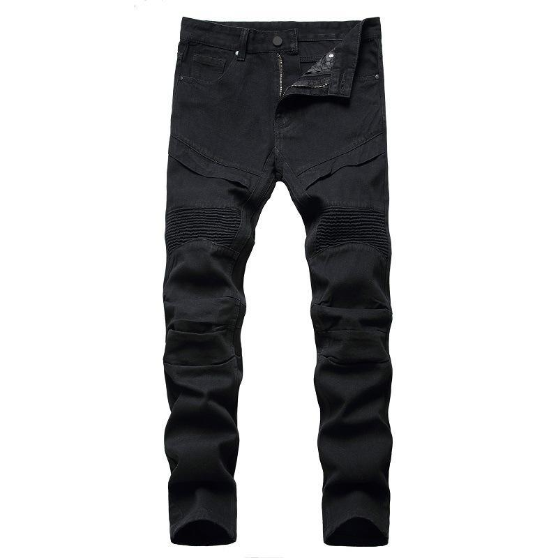 Moto moto biker jeans schwarz weiß gerade oversize 38 40 42 Denim Hose 2020 Frühling Herbst Winter Hip Hop Punk Streetwear Männlich