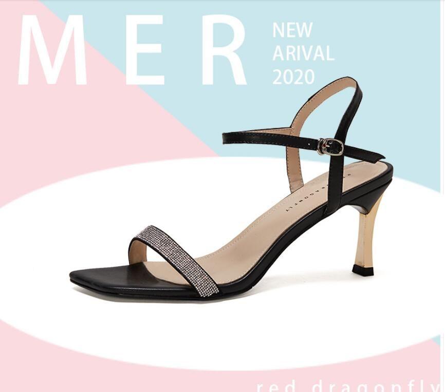2020 Nouvelle arrivée filles mode chaussures talon court de 7,5 cm de talons casual design féminin en plein air à bout ouvert noir blanc doux santal # P38