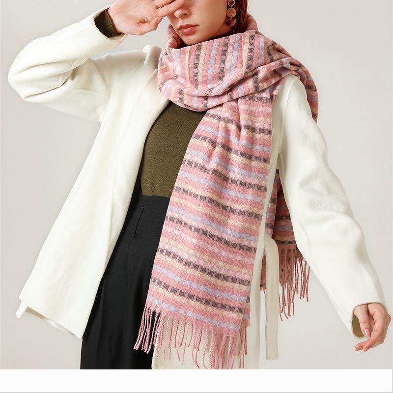 Luxury-Designer 2020 NEW fashion cashmere women plaid scarf winter warm shawl and wrap bandana female foulard long thic
