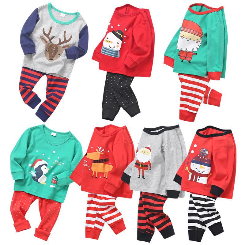 Новый ребенок Рождество пижамы ребенк мультфильм домашняя одежда наборы с длинным рукавом верхняя полоса брюки спящая одежда осенью лося Santa одежда для мальчика