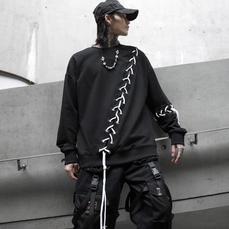 Men's Hoodies & Sweatshirts Hybskr Printed Men 2021 Autumn Hooded Fashion Black Man Streetwear Hip Hop Casual Pullovers