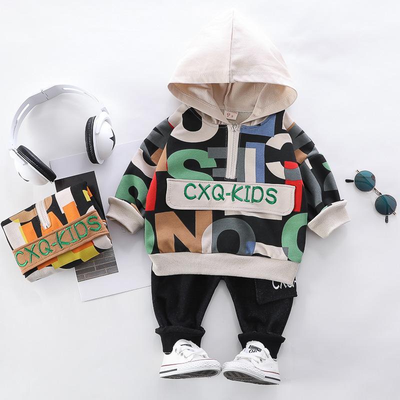 Hylkidhuose Spring Baby Boys Conjuntos de ropa impresos letras con capucha t shirt pantalones niño ropa infantil ropa para niños 201127