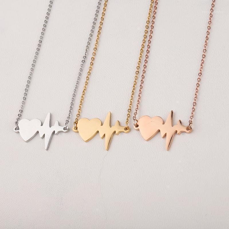 Ketten Fnixtar Herzschlag Halsketten Edelstahl Liebe Herz Ekg Halskette Trendy Schmuck Für Frauen Girlfrend Geschenke 5pcs / lot1
