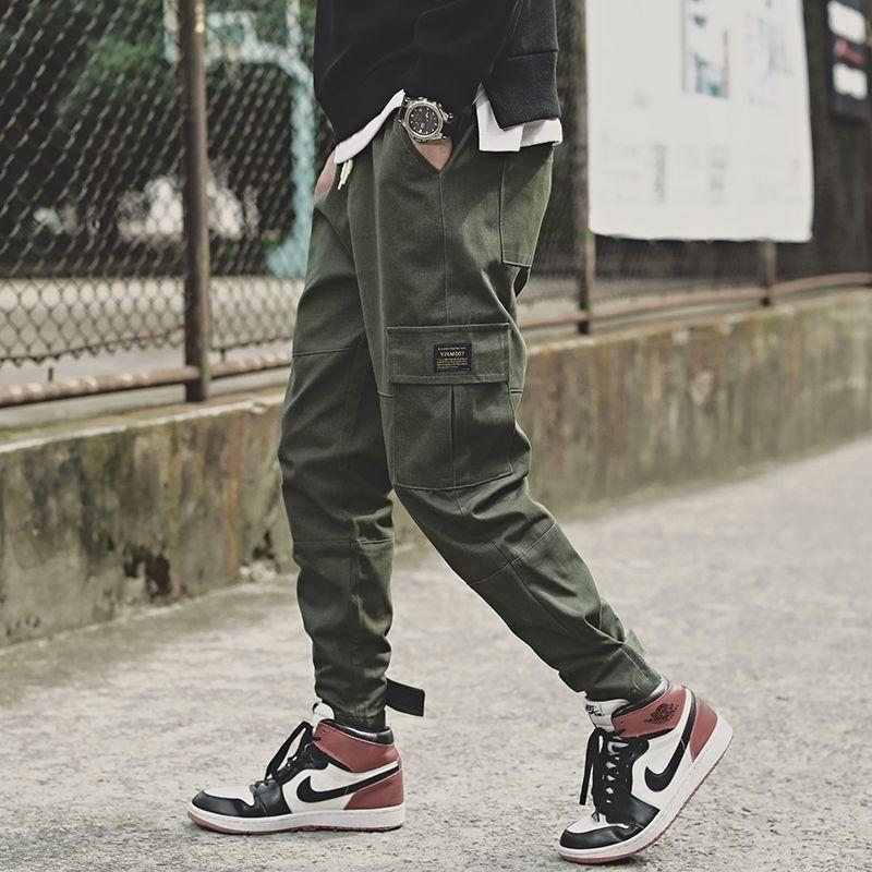 Мужские боковые карманы грузовые гарем брюки мода ленты черные хип-хоп повседневные мужские пробежки брюки мода уличная одежда штаны 201109