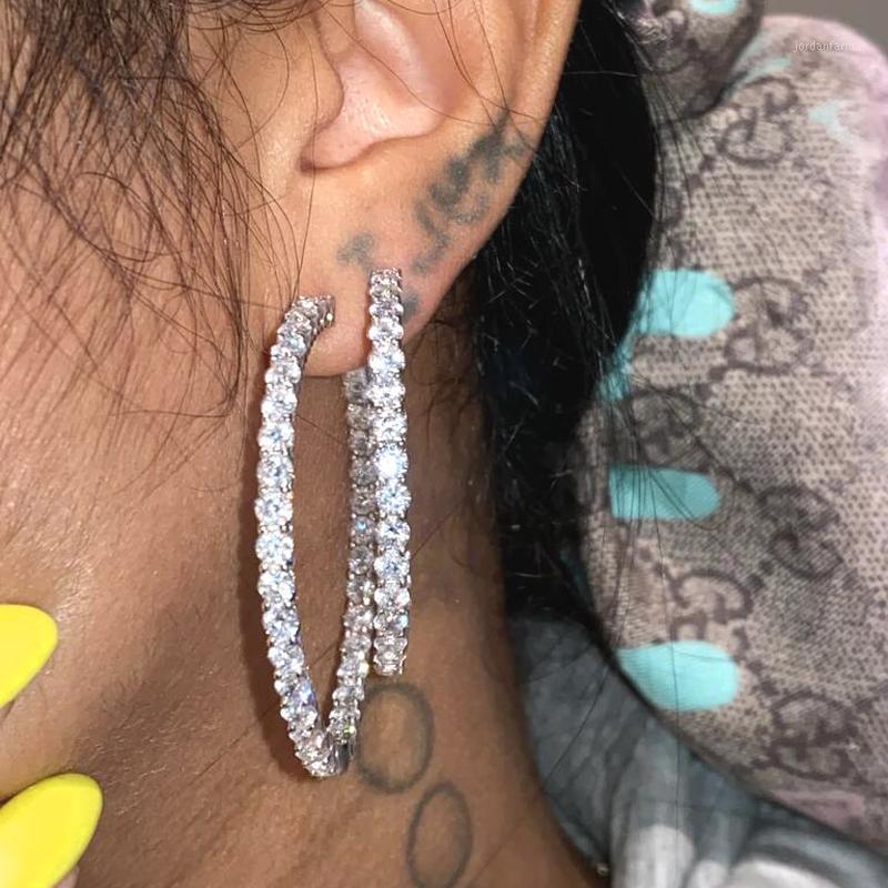 2020 NUEVOS NUEVOS BIG 55mm helados Out CZ Pendiente de aro redondo para mujeres Joyería de moda Oro Plata Color CZ Hoop Blanco Piedra Mujeres Pendiente