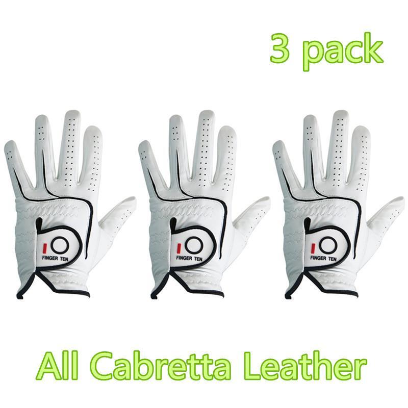 Hombres Golf Gloves All Cabretta Leather Grip Value 3 Pack LH RH Cómodo Fit Durable Fit Medium Ml Amplio XL XXL 2xl Dedo DIEZ DE 201028