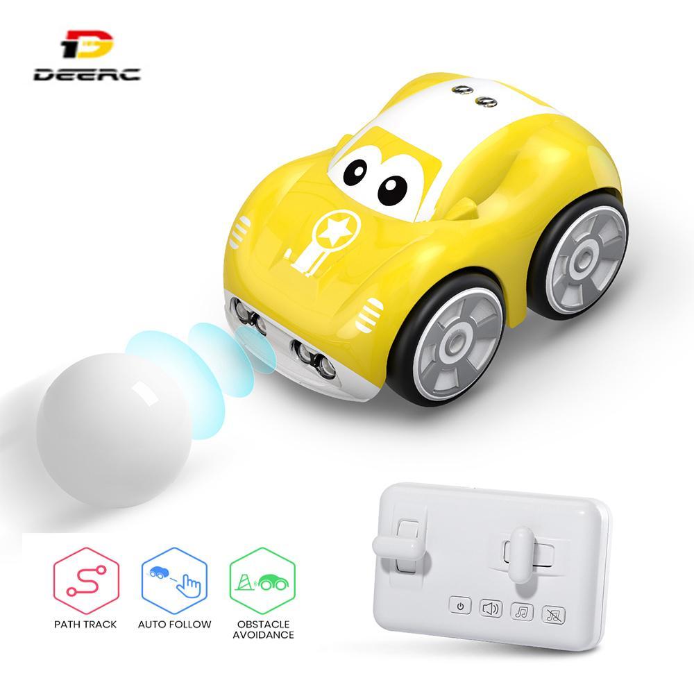 DEARC RC 1/10 автомобиль Мини-пульт дистанционного управления автомобилем для детей игрушечные автомобили с автоматически Следуйте за препятствиями Предотвращение препятствий Следуйте функциям пользовательских треков 201124