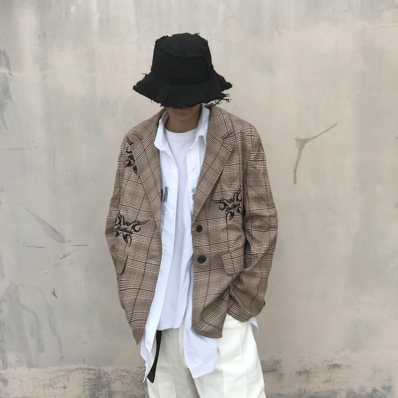 자수 한국 힙합 오버 사이즈 정장 남성과 여성 느슨한 Signle 브레스트 캐주얼 자켓 가을 겨울 커플 재킷