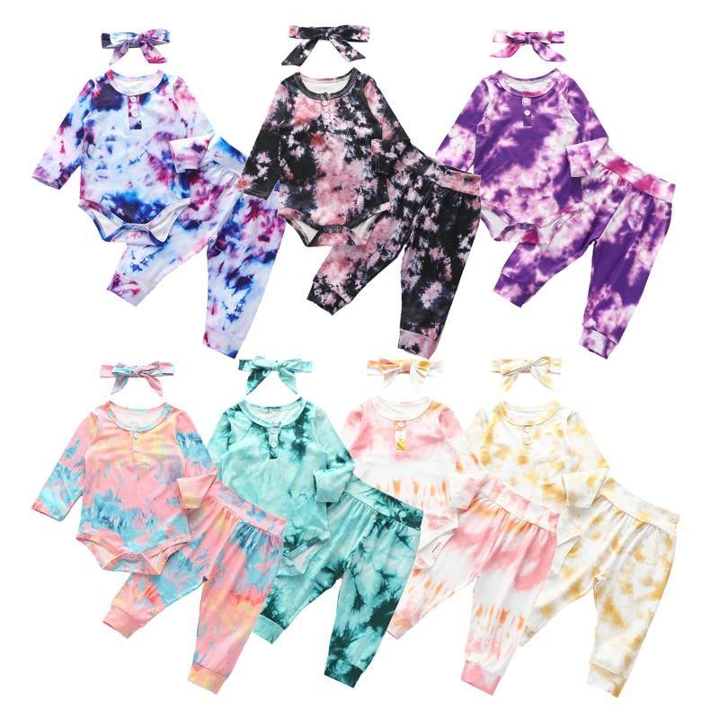 Herbst-Kleinkind-Baby-Tie Dye Kleidung stellt Langarm-Body + Hosen-Jungen-Mädchen-Kleidung 3Pcs Outfits