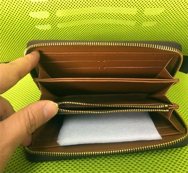 Livraison gratuite! Mode hommes femmes embrayage portefeuille en cuir véritable avec boîte