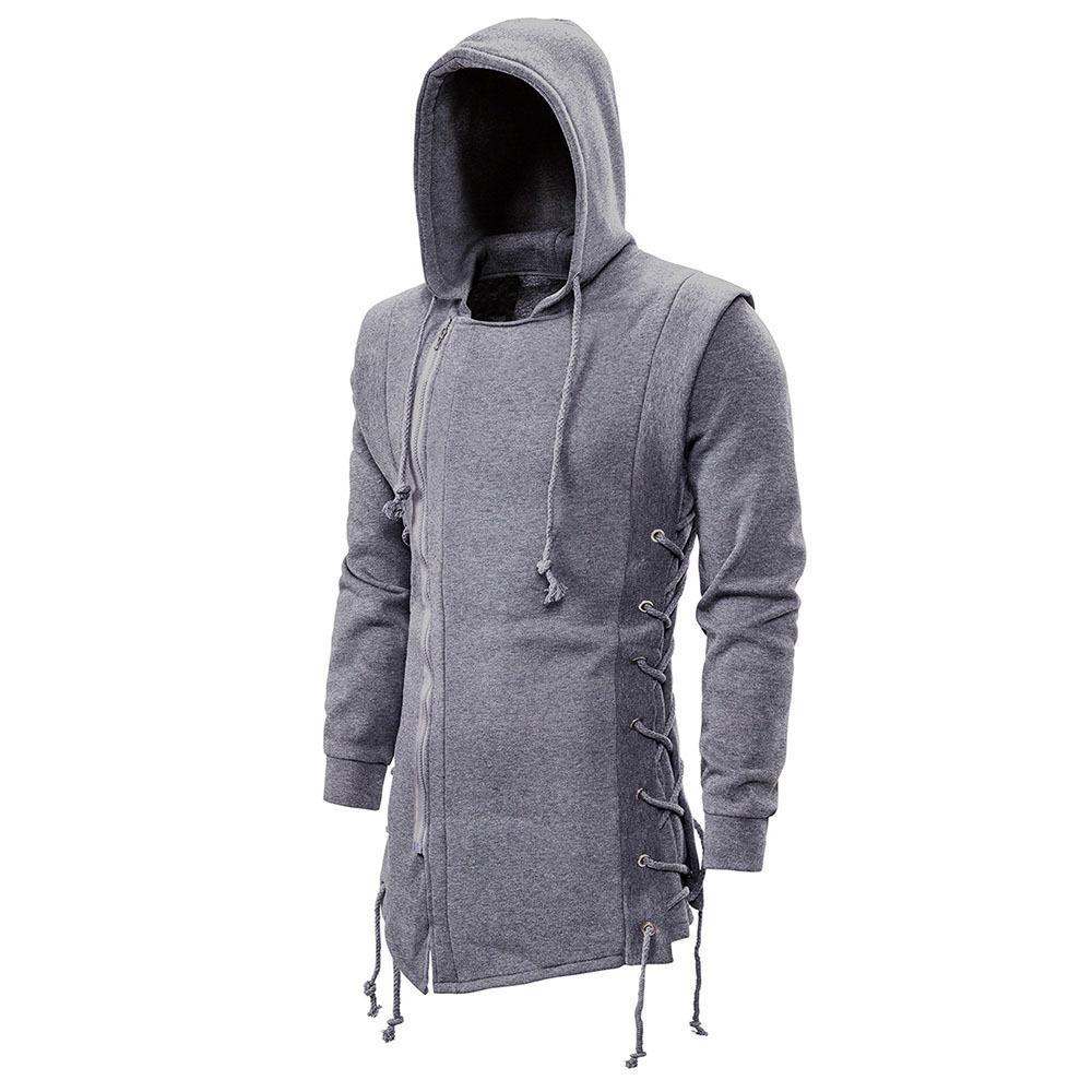 Rosegal Hoodie Ceket Erkekler Yan Lace Up Polar Gotik Hoodie Kalın Katı Mantolar Erkek Kazaklar Kış Fermuar Kapüşonlular Coats 1019
