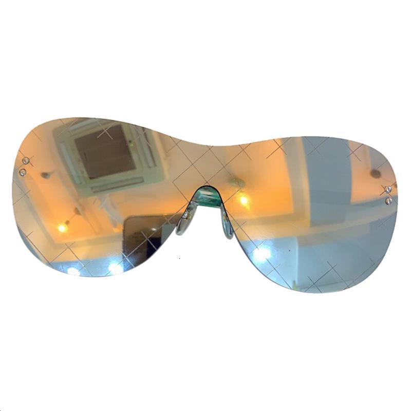 Hohe Design Frauen Bunte Sonnenbrille Gradient Original Randlose UV400 Qualität Männer Brillen mit Kastenmarke Weibliche LXAJJ
