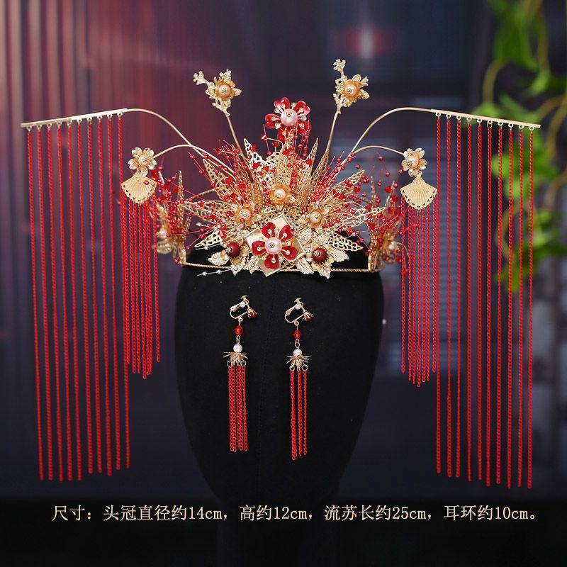 mcrown nova noiva Phoenix cocar vermelho 2020 longa borla clássico conjunto headwear Xiuhe acessórios vestido de casamento k