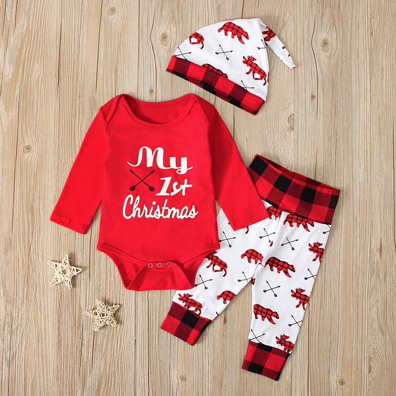 3 Pieces Set Baby Clothing Long Sleeves Letter Climbing One-Piece Garment Children Woman Hat Clothes Suit Christmas Spring Autumn 20ph K2