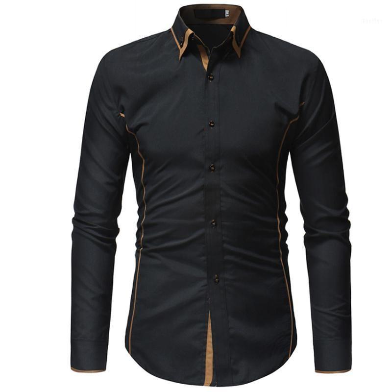 Мужская рубашка 2018 бренда мужская рубашка контрастное платье отворотный воротник уличная одежда Slim Fit Camisas Hombre повседневная мужчина гавайская D1