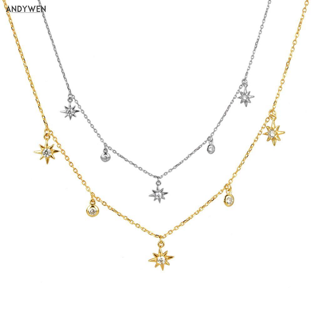 ANDYWEN 925 Gümüş Altın Zirkon cz Zincir Çiçek Yıldız Zincirler gerdanlık kolye 2020 Lüks Mini Charm Kristal Takı 1020