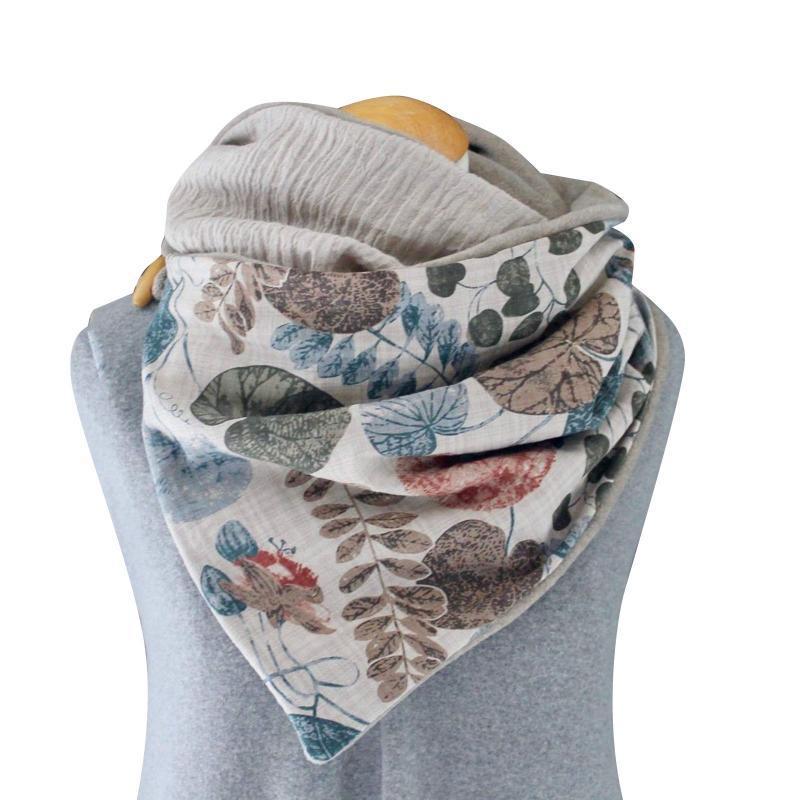 Sciarpa Inverno Printten Retro delle donne Solid caldo donne sciarpa multifunzionale esterna di protezione Scialle Pulsante Foulard Femme