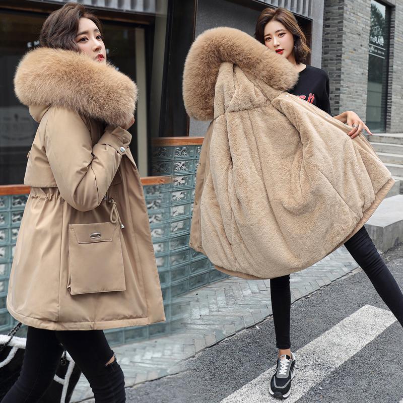 Мода Толстые Теплый женщин ветровки Меховой вкладыш Зимняя куртка и пальто с капюшоном меховой воротник проложенные Зимняя одежда Женщины Outwear 201014