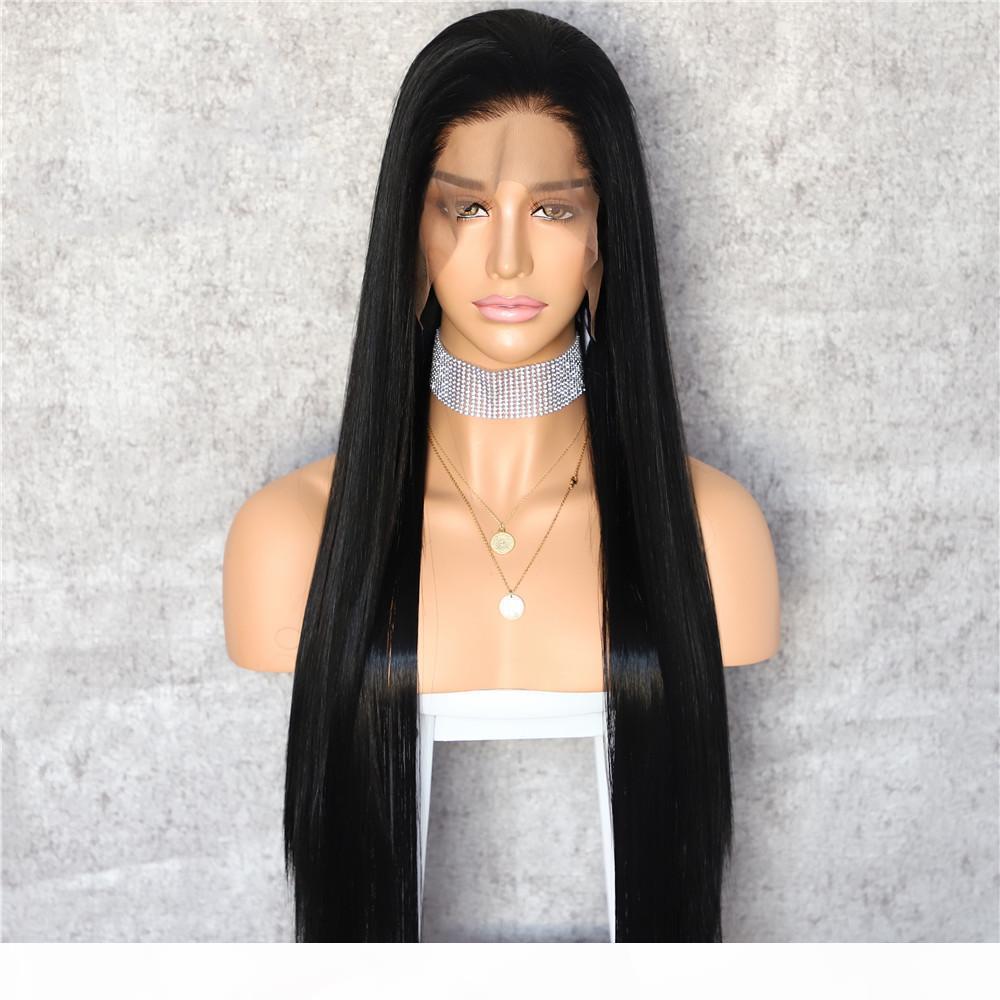 Perruques droites longues noires noires naturelles avec poils bébé Synthetic dentelle de dentelle de dentelle pour femmes Fibre résistante à la chaleur