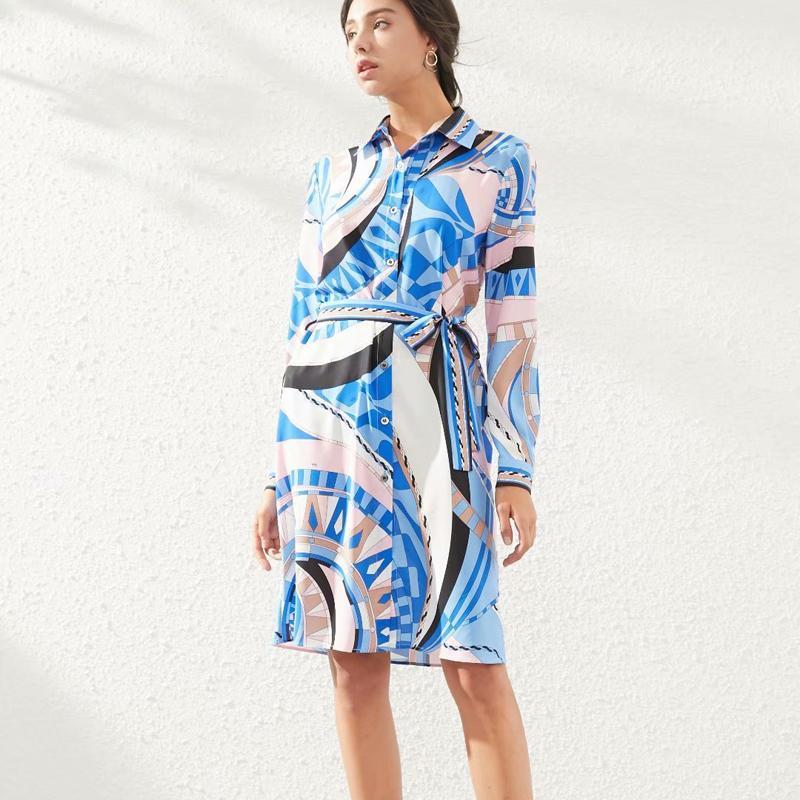 عارضة فساتين الربيع نمط بوهو ريترو طباعة طويلة الأكمام حزام يتأهل مزاجه واحدة الصدر قميص اللباس جودة عالية ملابس النساء