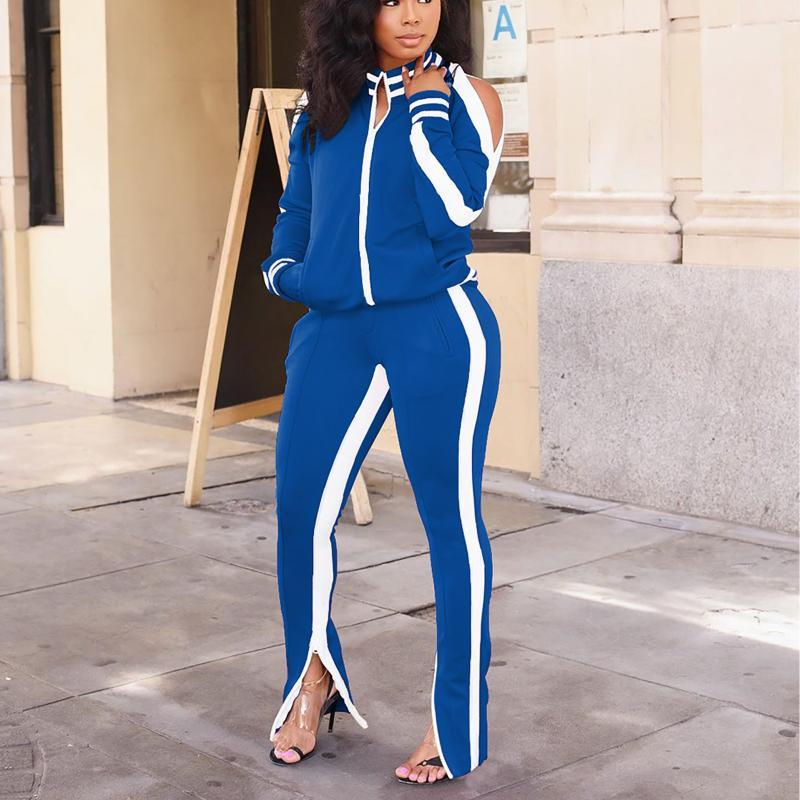 2020 Winter New Two Piece Set Women Sport Long Sleeve Zipper Splicing Coat Flared Trousers Casual Solid Color Women Clothing