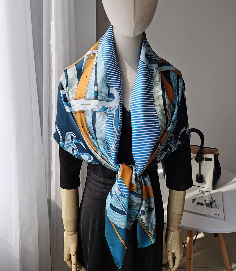 """مناديل السيدات 100٪ الحرير الخالص 12MM الحرير المطبوع ساحة كبيرة وشاح التفاف المنديل 108CM 42.5 """"WD012-2"""