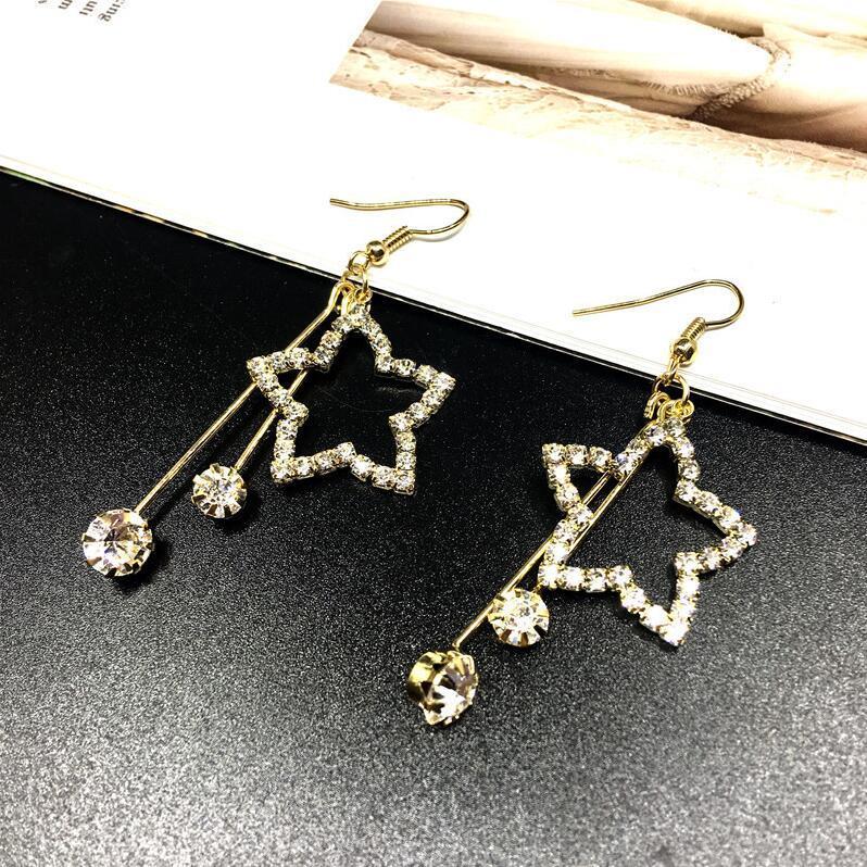 Yeni Moda Kristal elmas taklidi Star'ın küpe Basit Joker Flake Geometri Küpe Güzel Pentagram Altın Küpe Aksesuarlar