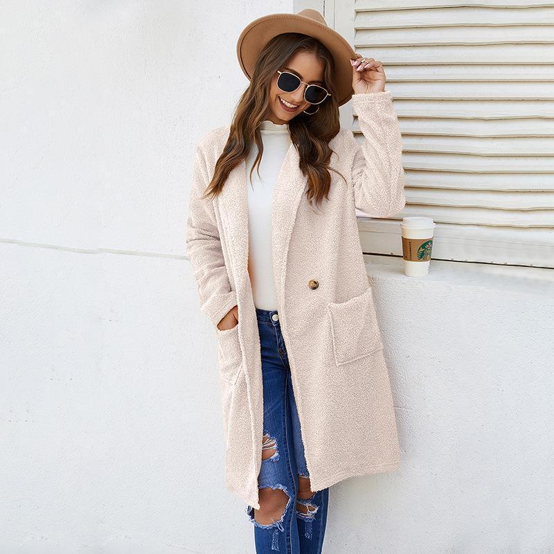 Fannic 2021 revers d'hiver Cachemire Coachmere Couleur Femme Couleur Simple Bouton à manches longues à manches longues à mi-longueur