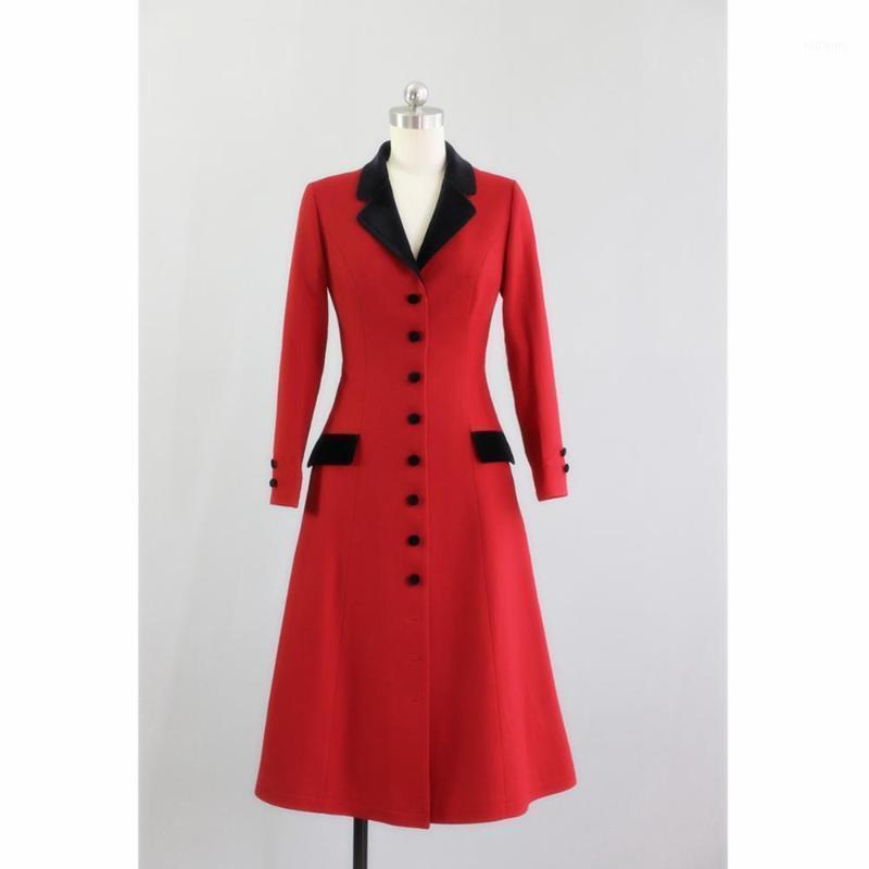 Женская шерстяная смесь 40- зимние женщины Vintage 50s длинная куртка в красный и белый элегантный кашемировый пальто плюс размер Manteau Femme Abrigo Mujer1