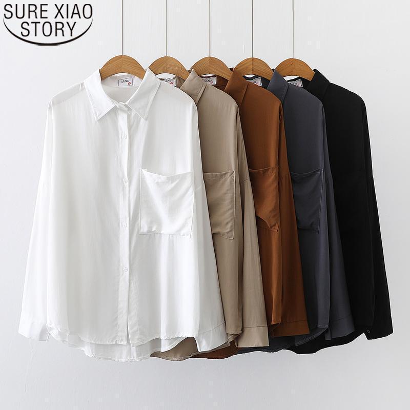 2021 Autumn Korean Plus Size Kleidung für Frauen Hemd und Bluse Mode Vintage Bluse Damen Tops Langarm Hemd 113321