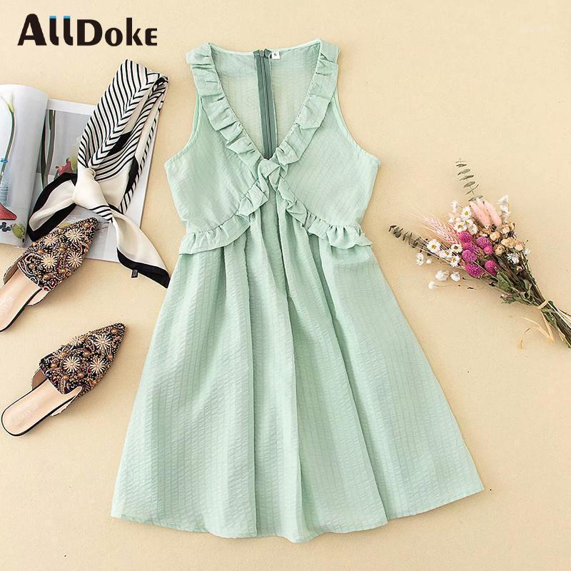 Alldoke Deep V-шеи Сексуальная линия платье женщины лето высокие талии без рукавов оборки винтажные повседневные зеленые женские платья Vestidos1