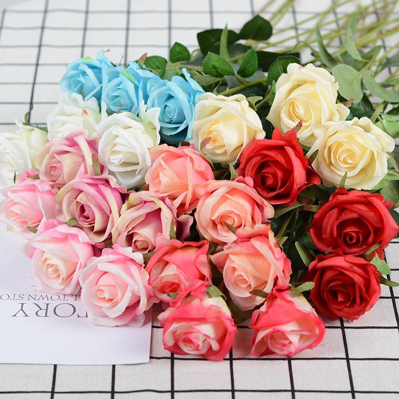 Yapay Çiçek Tek Şube Kıvrılmış Gül Flanel Ipek Simülasyon Gül Çiçek Buketi Düğün Parti Sevgililer Ev Dekorasyonu Için Süsleme